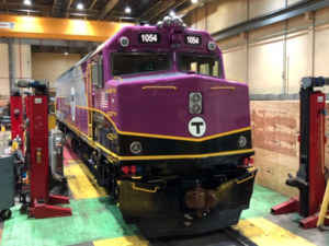MBTA F40 Locomotive being overhauled
