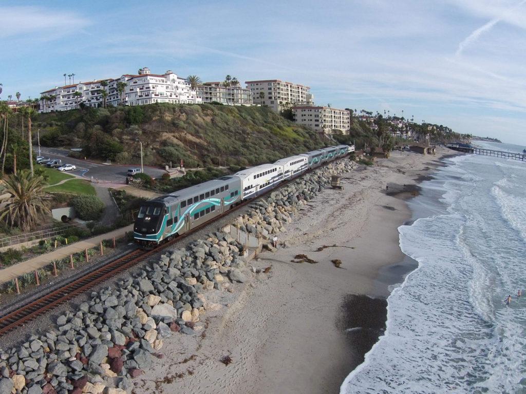 A Metrolink train in San Clemente, California