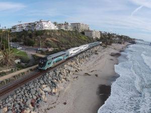 A Metrolink train in San Clemente, California