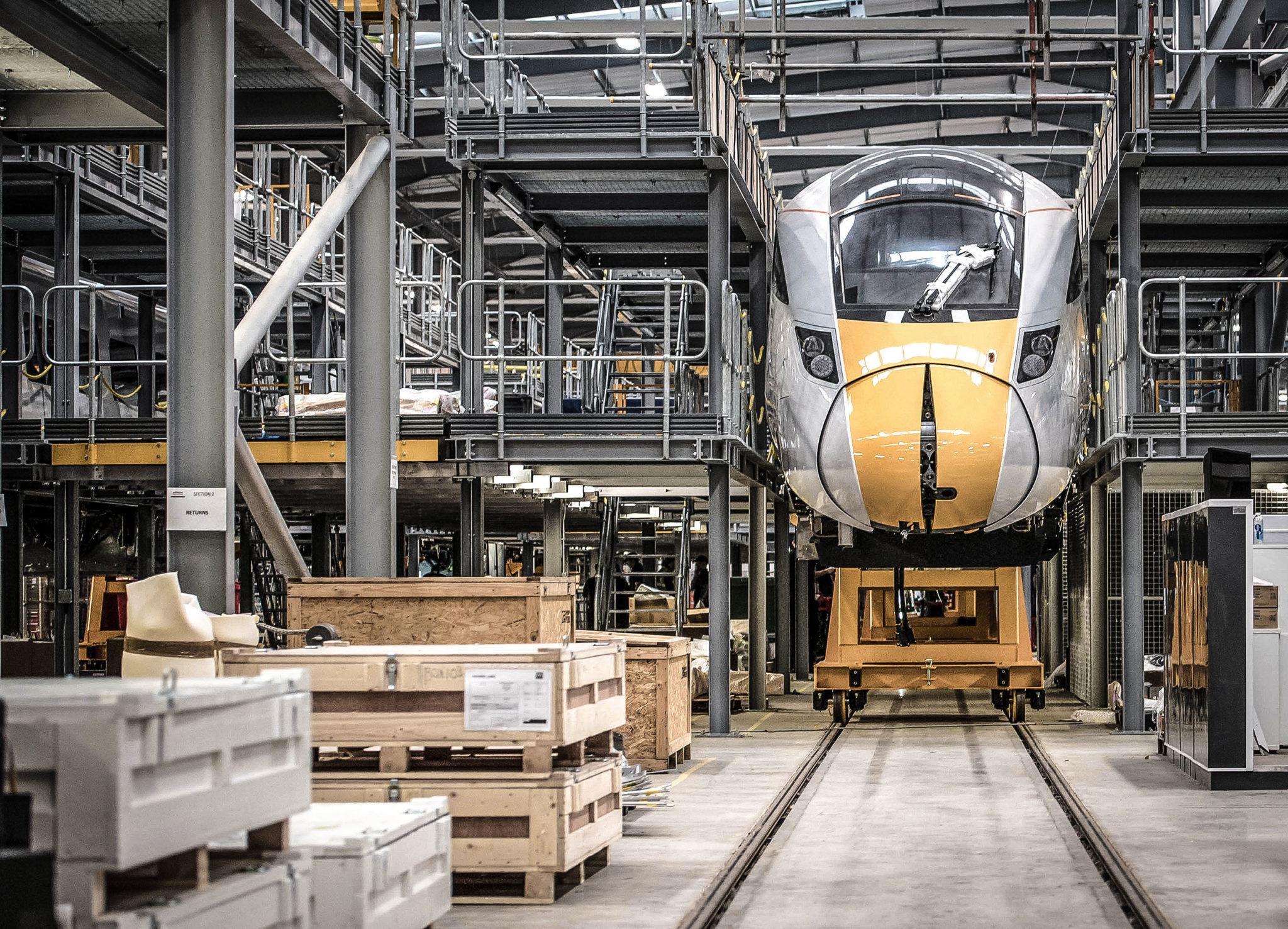 An IEP train at Hitachi's Newton Aycliffe facility