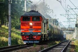 Russian Railways freight train in Russia