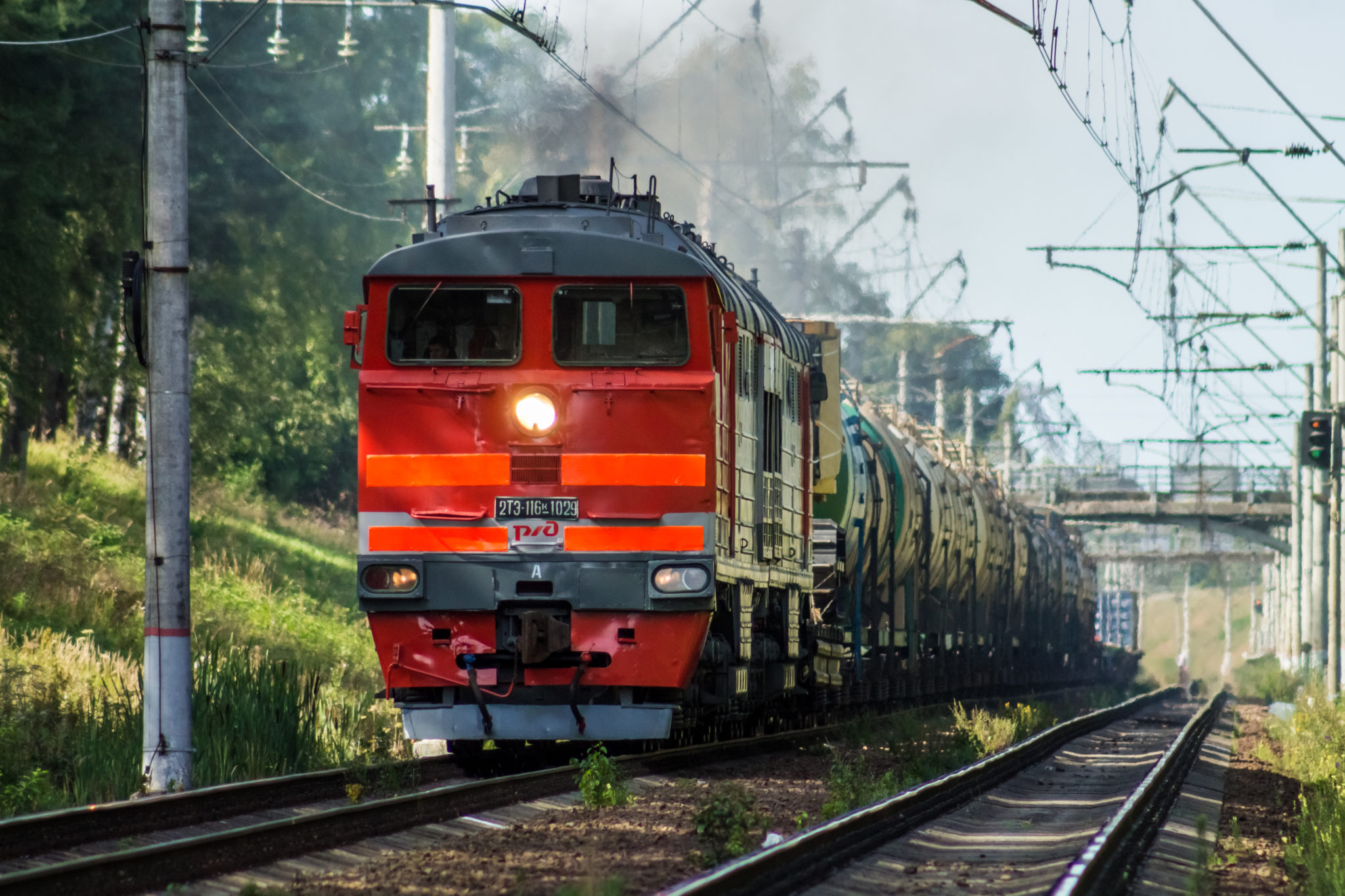 Russian Railways freight train in Russia