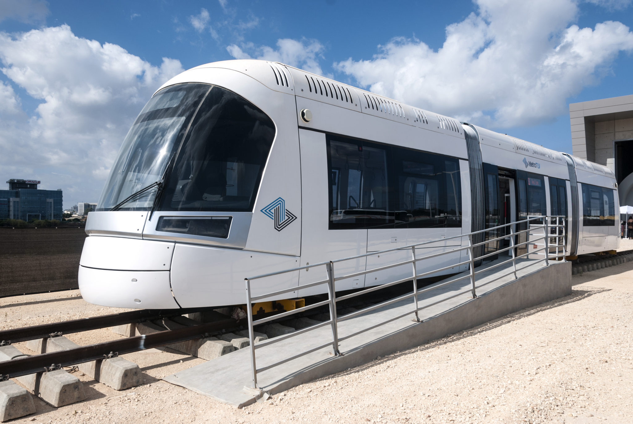 Prototype of the Tel Aviv Red Line LRV branded 'explosion-proof' by CRRC