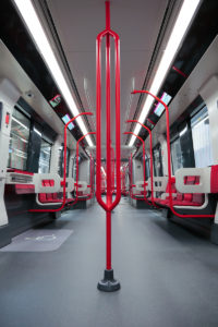 Interior of the new Alstom Lyon metro train for Line B