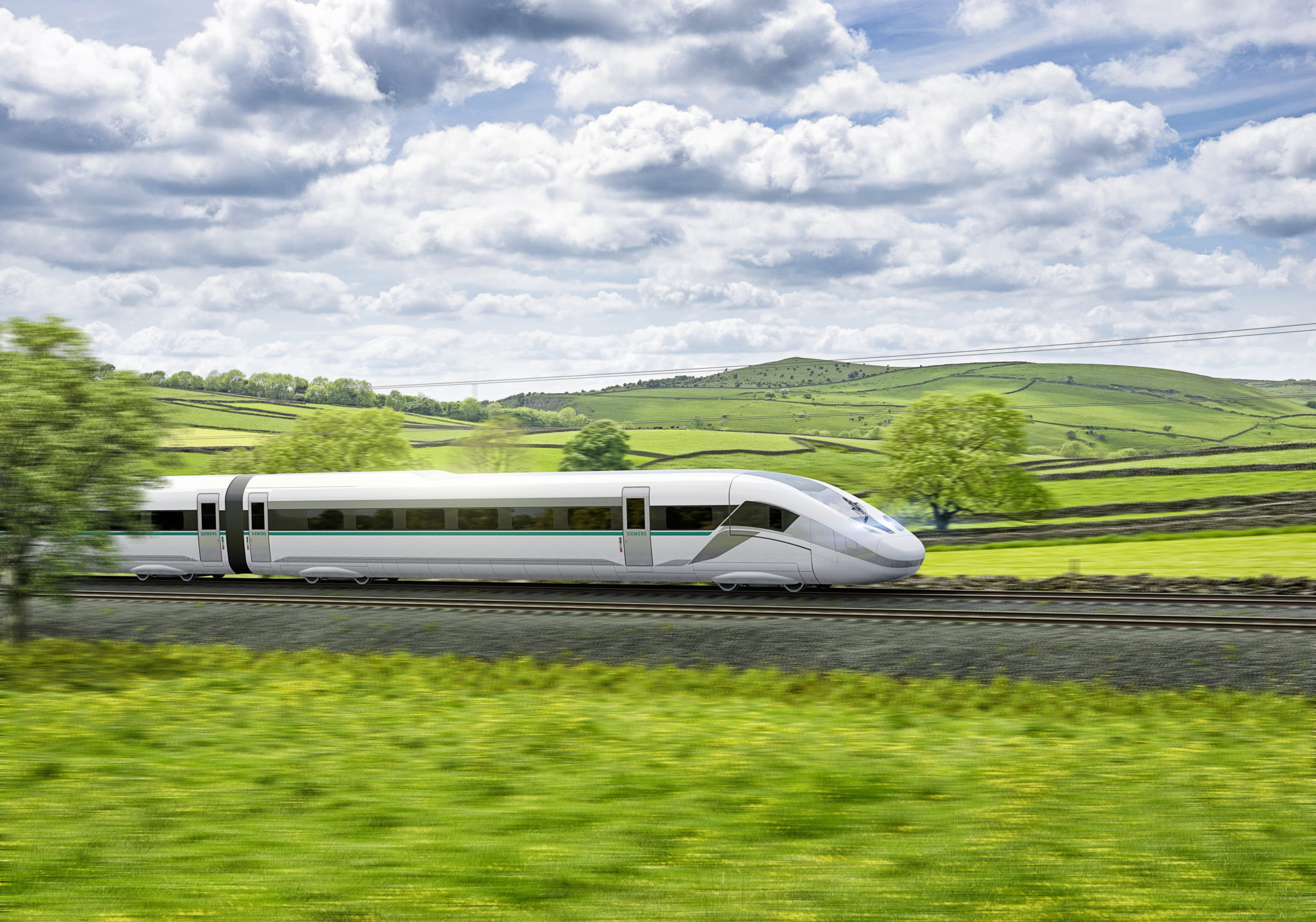 Rendering of Siemens Mobility's Velaro Novo high-speed train