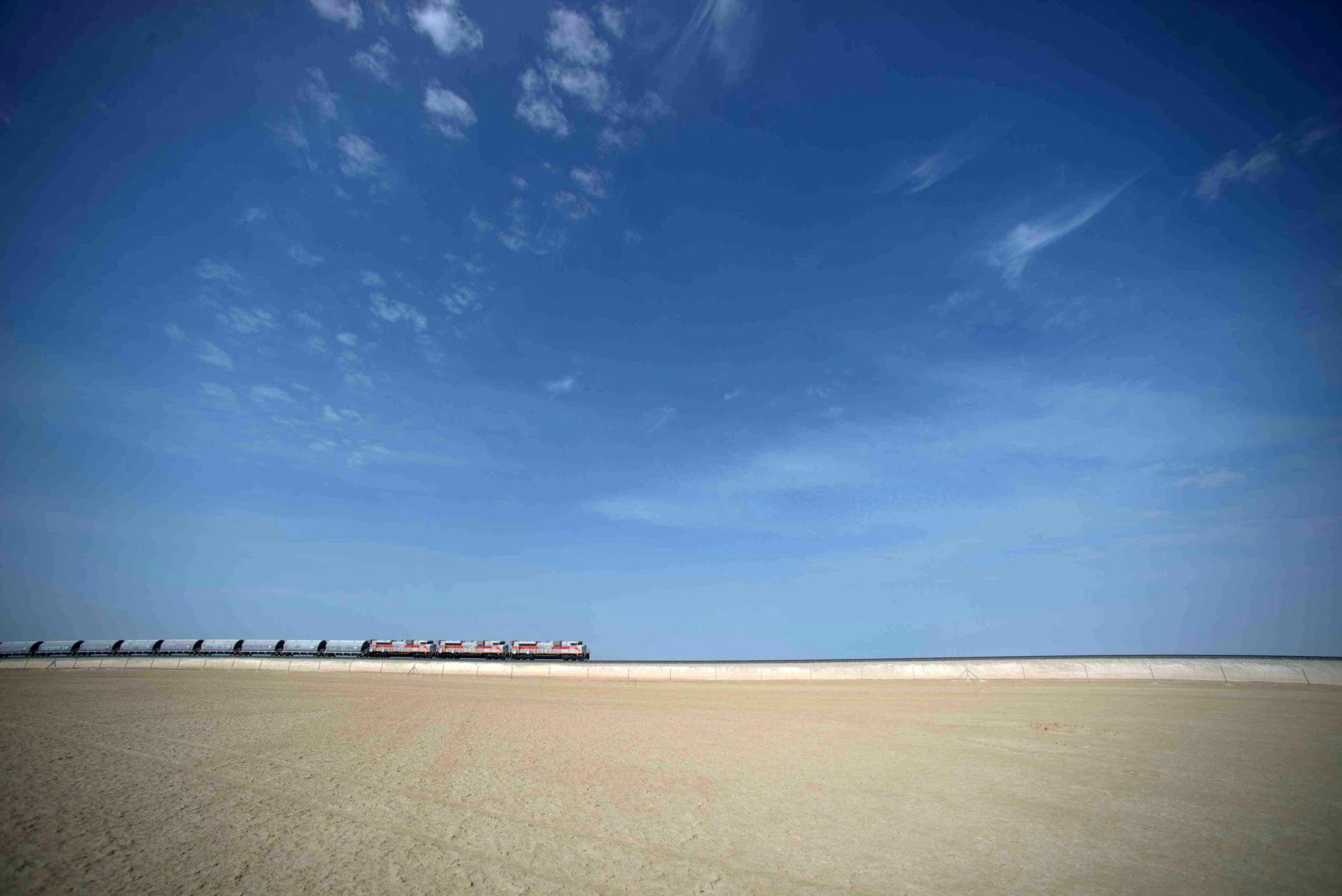 Etihad Rail DB freight train in UAE