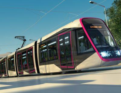 Inauguration for Alstom Citadis X05 Tram for Caen la Mer
