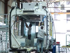 Alstom factory working on the Dubai tramway