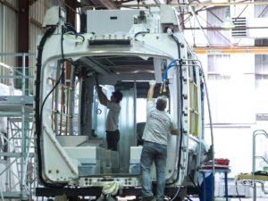 Alstom factory working on the Dubai tramway