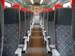 Refurbished interior of the Class 175 Alstom Coradia DMU