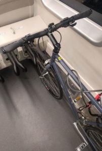 Old style of bike rack on BART train