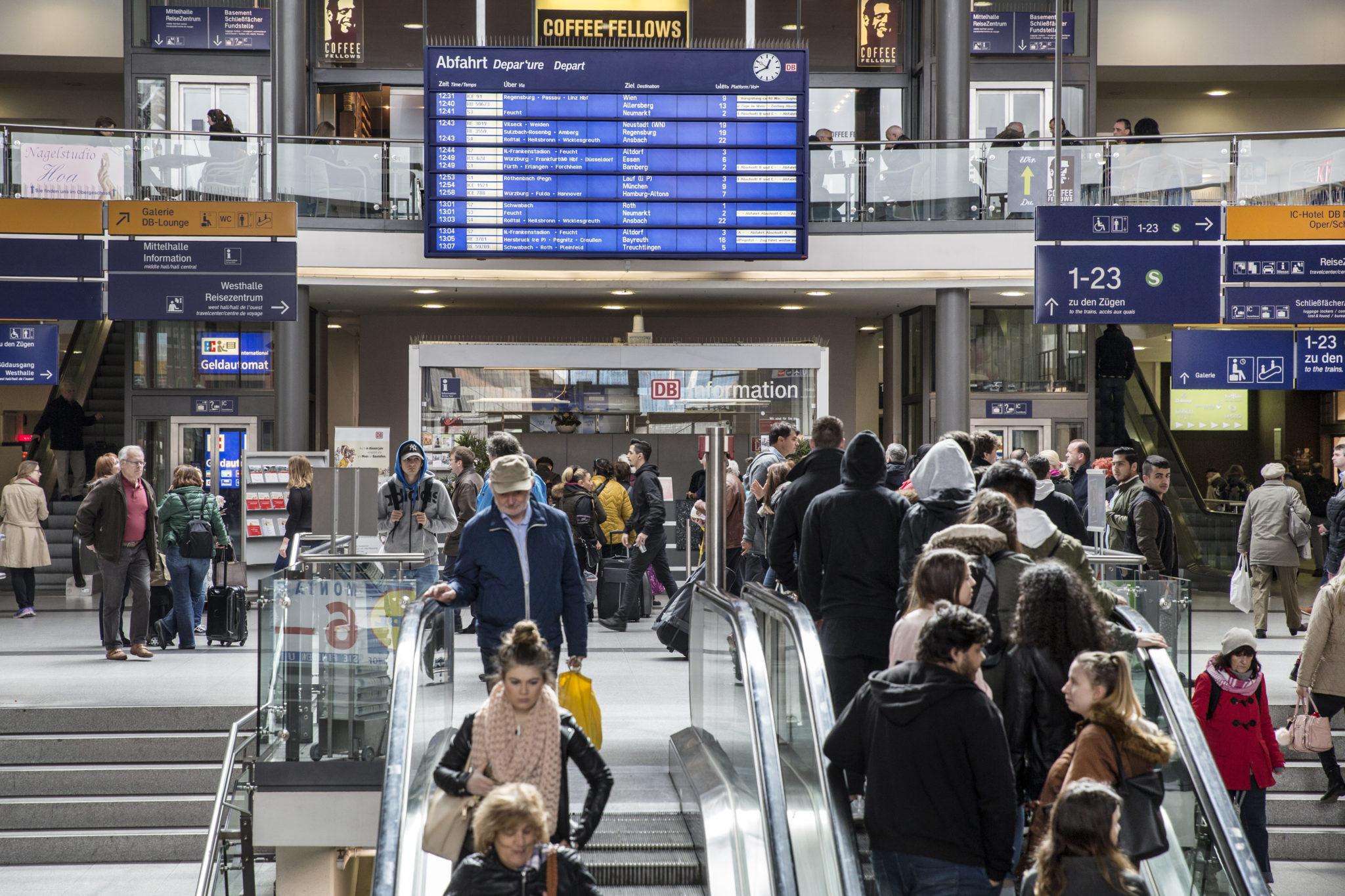 Passengers in Nuremberg Central Station