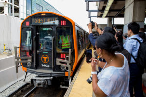 First New Train for Boston's Orange Line Enters Service