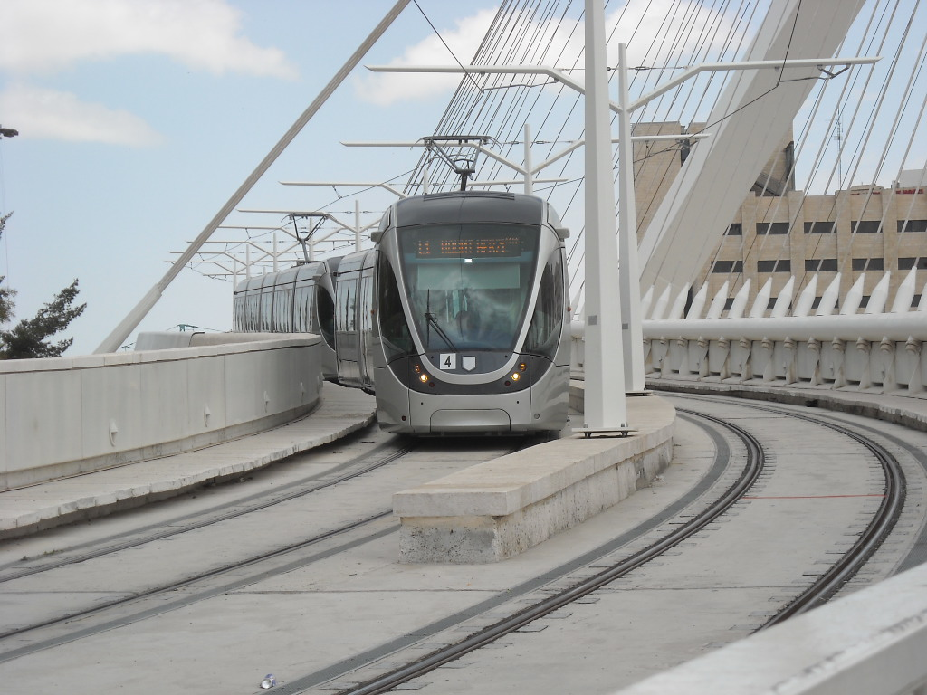 An Alstom Citadis tram on Jerusalem's Red Line