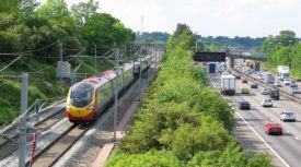 An Alstom Pendolino on the busy West Coast Main Line
