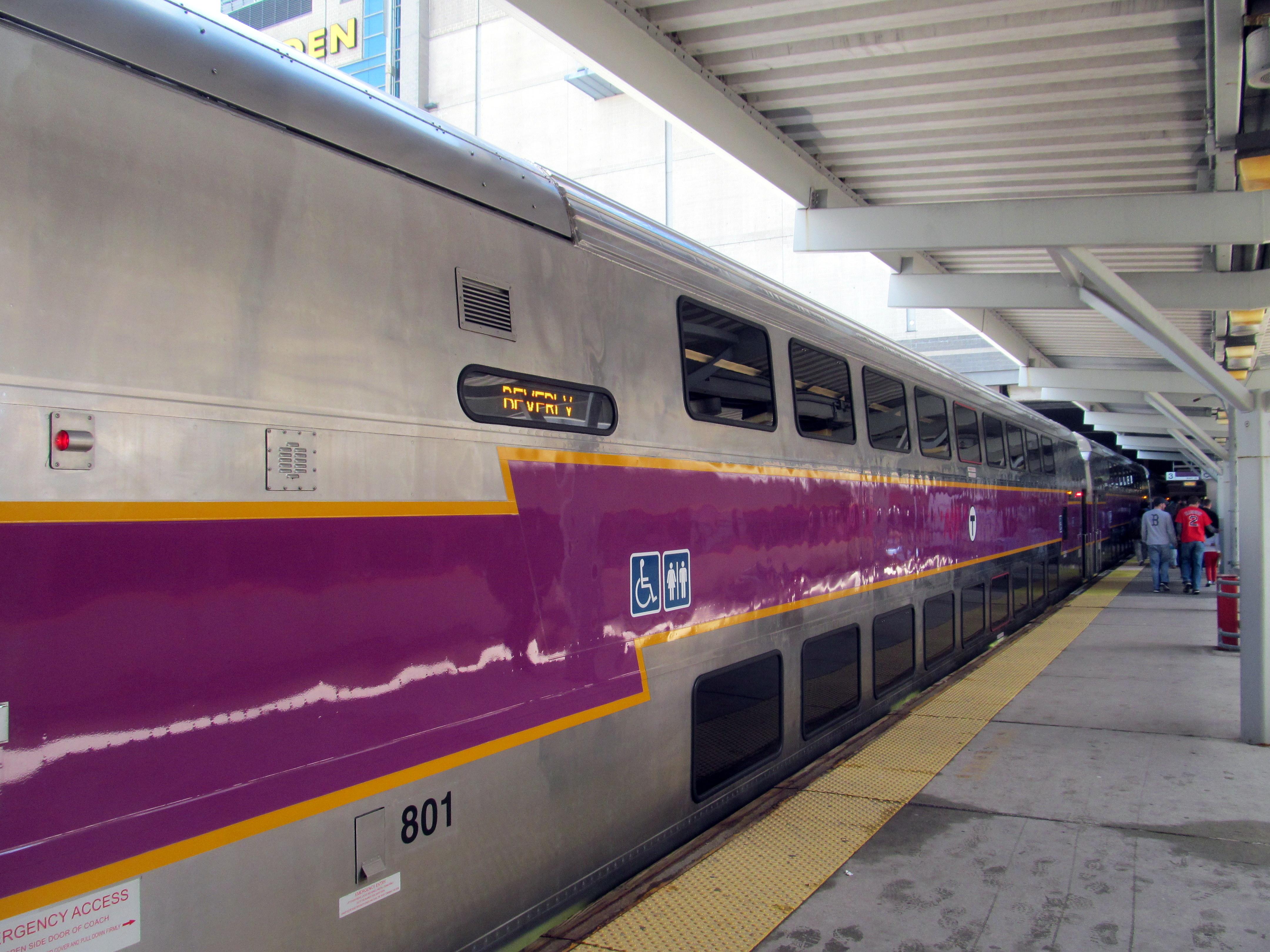 A Hyundai-Rotem double-decker train for MBTA