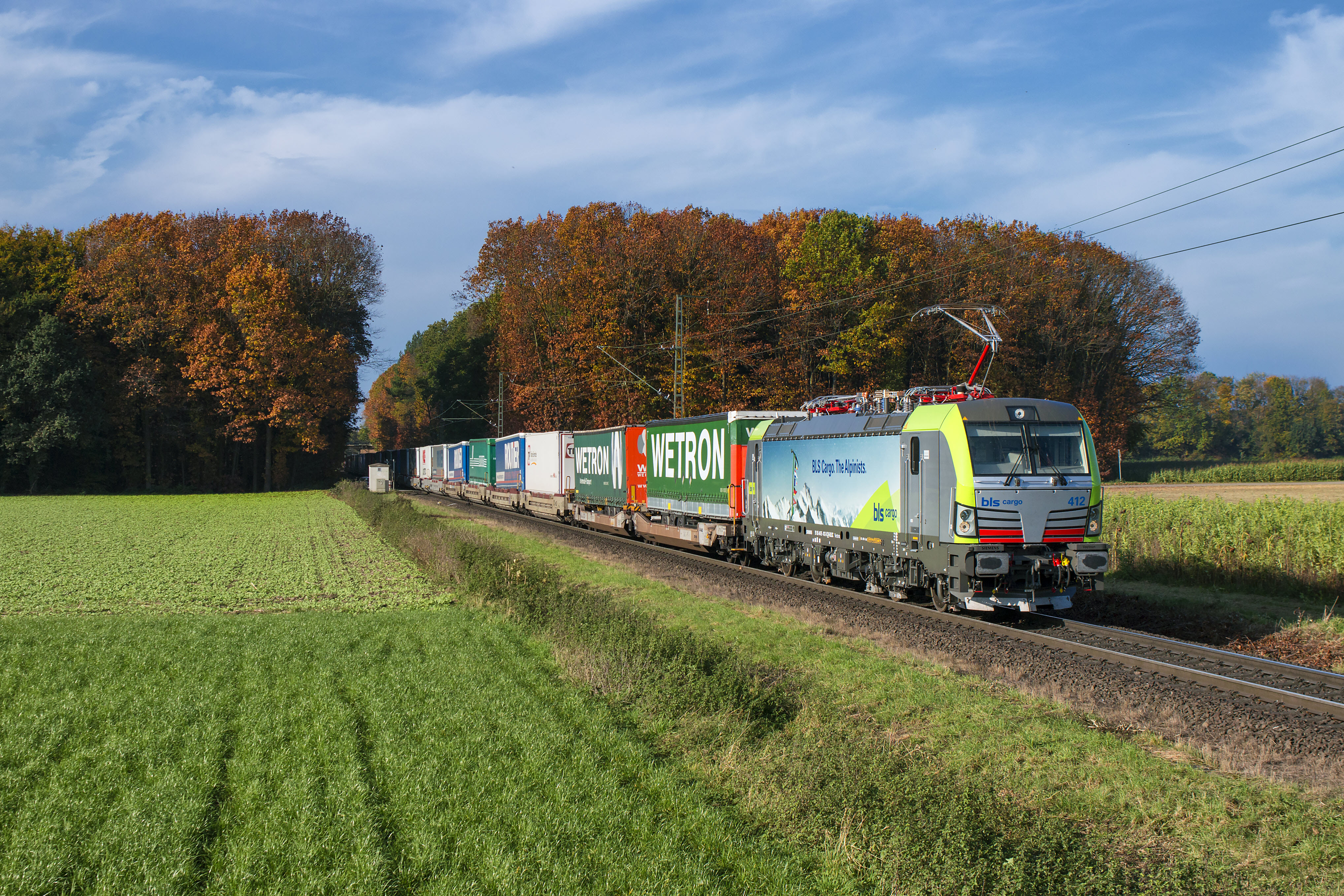 BLS Cargo Siemens Vectron locomotive and freight train