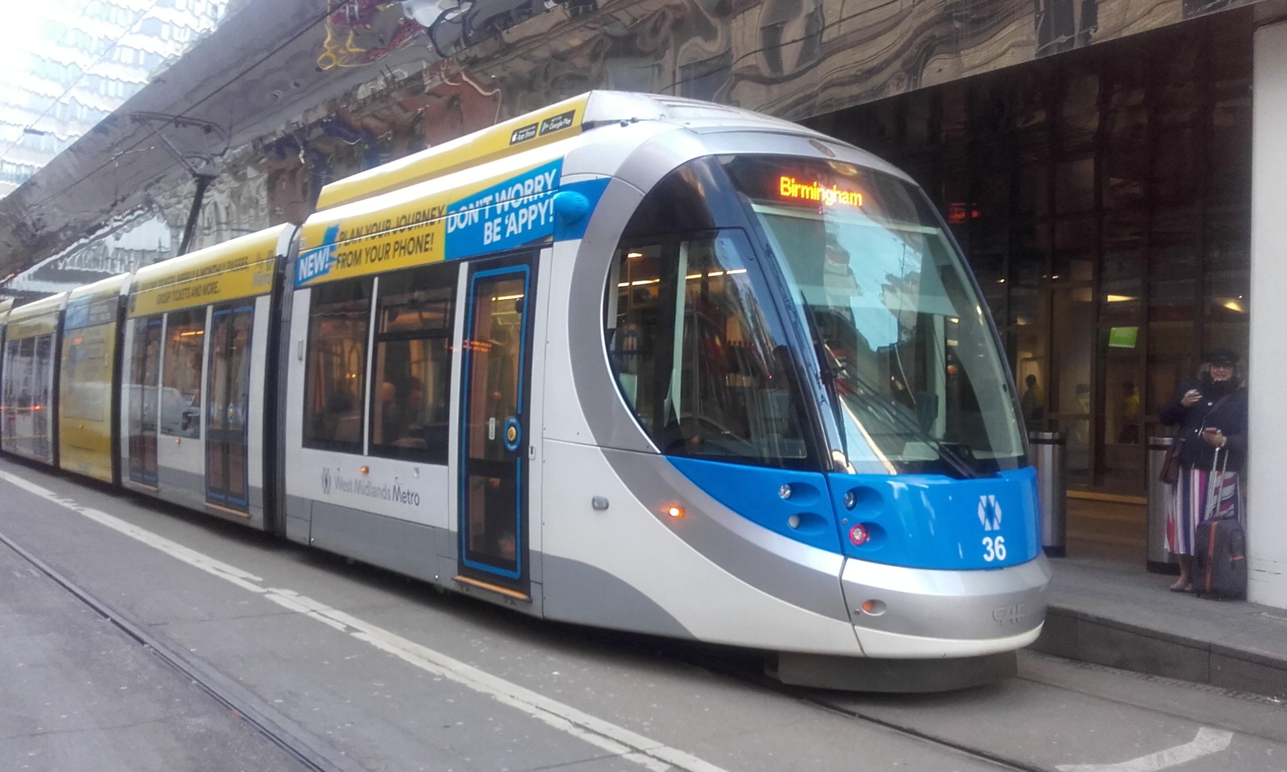 A CAF Urbos 3 tram in Birmingham