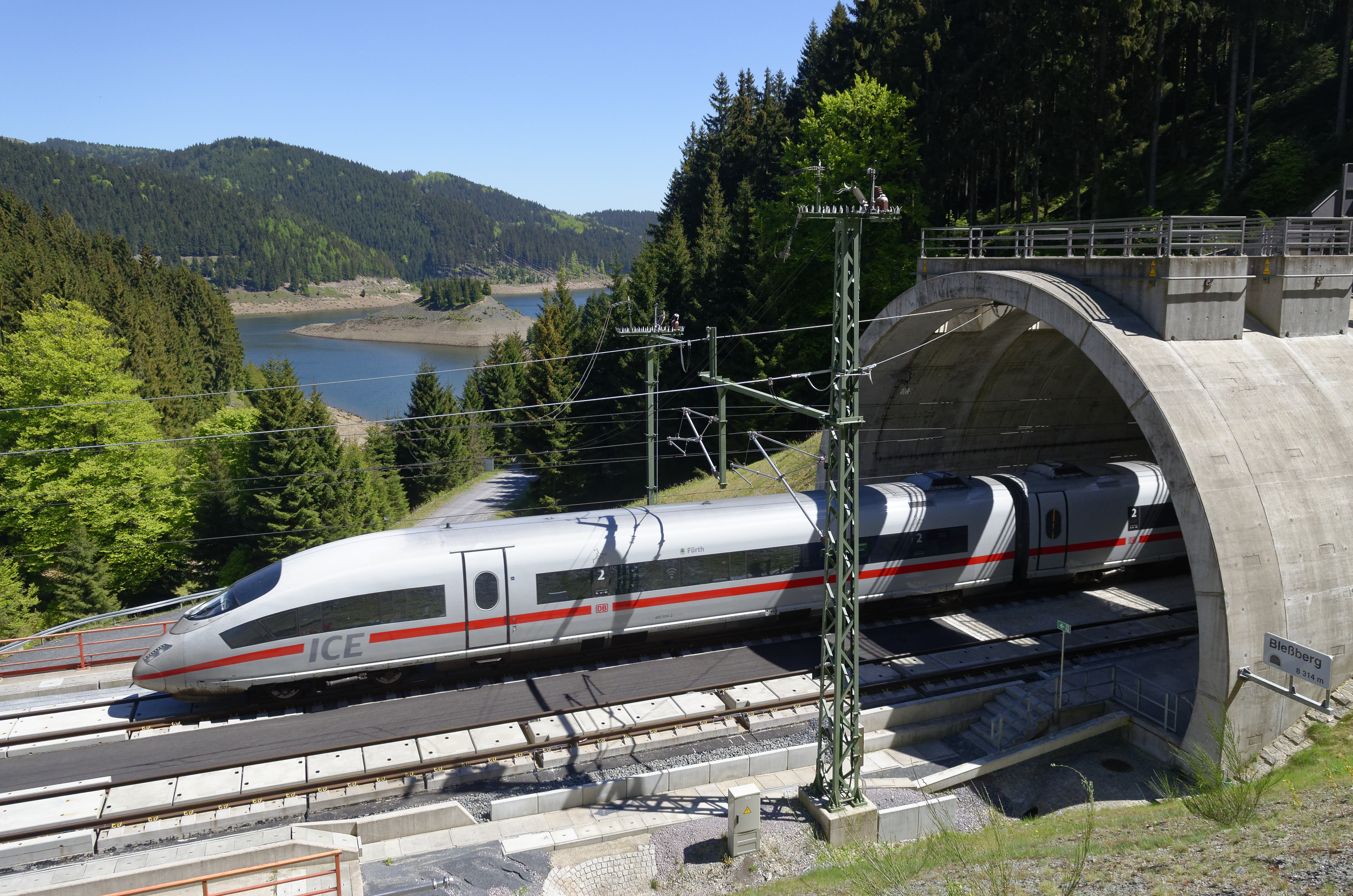 A DB ICE train on the VDE 8 German Unity Transport Project line