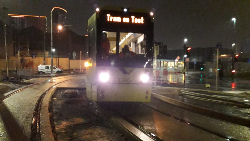 Infrastructure First Test Tram on Manchester's Trafford Park Line The first test tram - railway-news.com