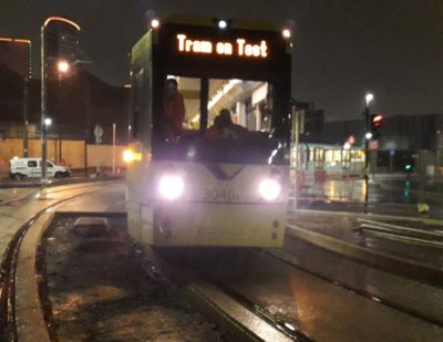 First Test Tram on Manchester's Trafford Park Line