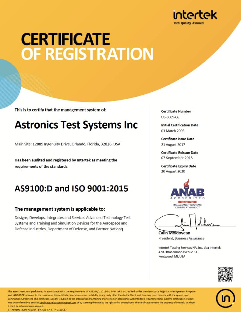 Astronics Intertek Certificate