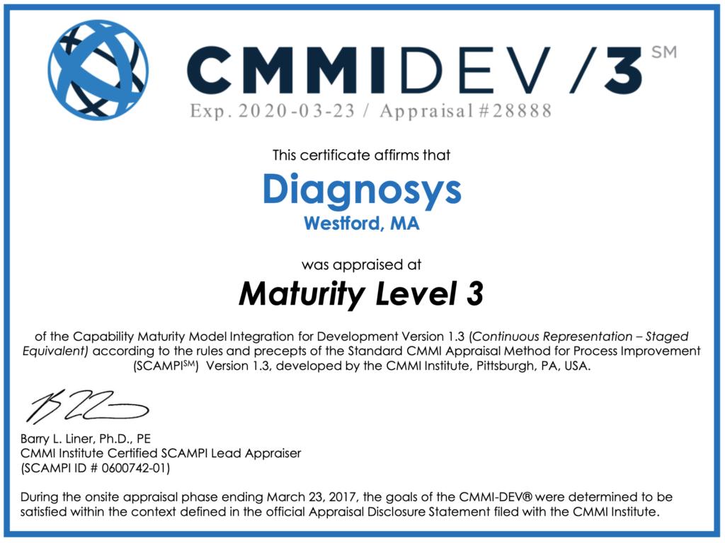 Diagnosys CMMI Level 3 Certificate