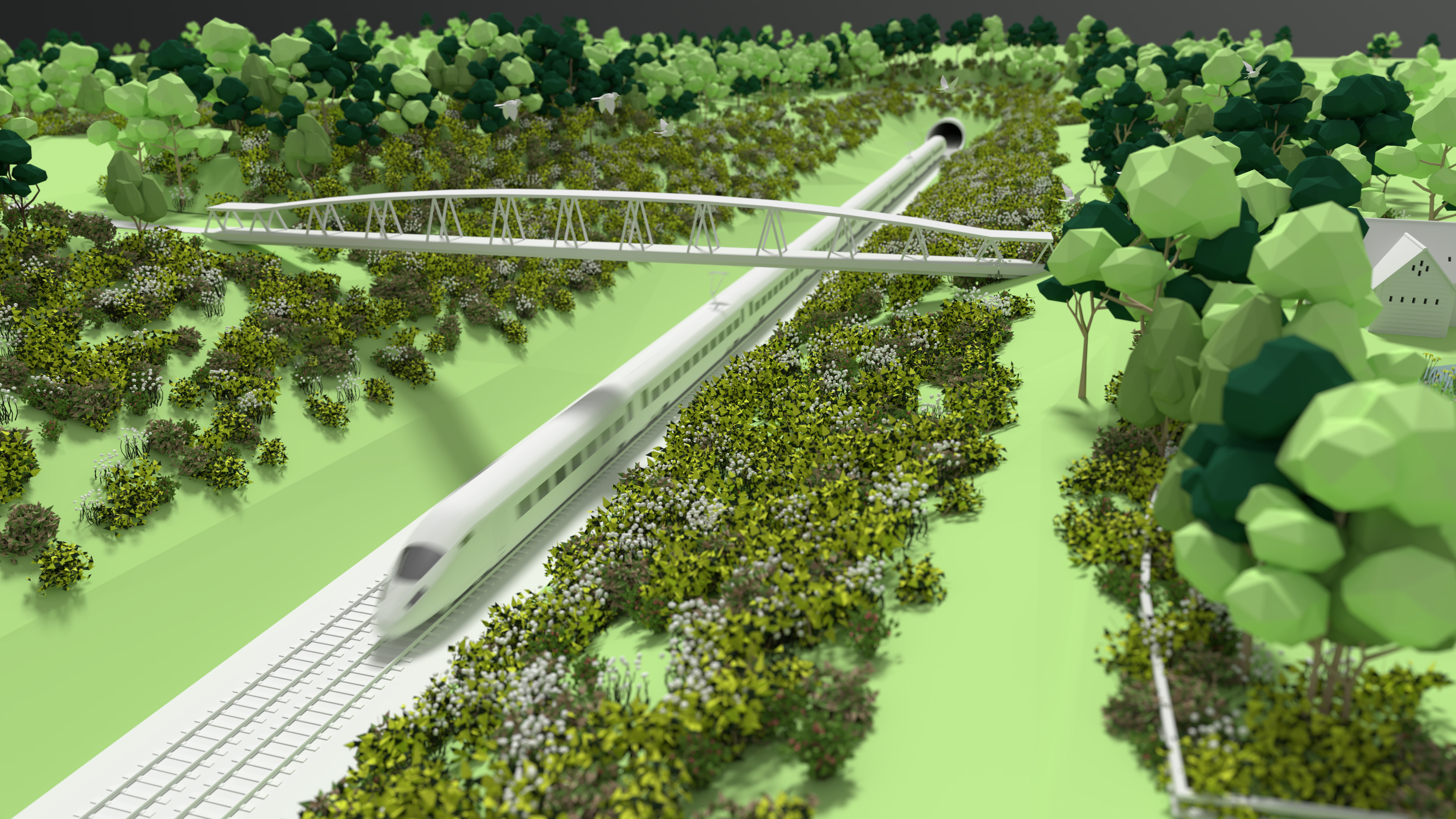 HS2 Ltd green corridor animation