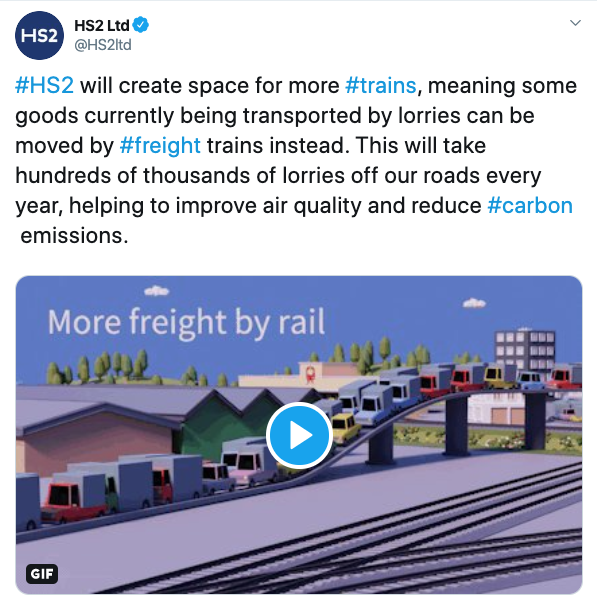 HS2 modal shift to rail tweet