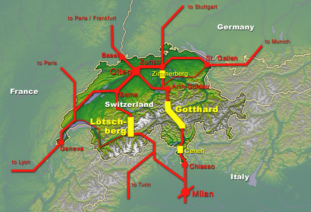 Map of the New Railway Link through the Alps
