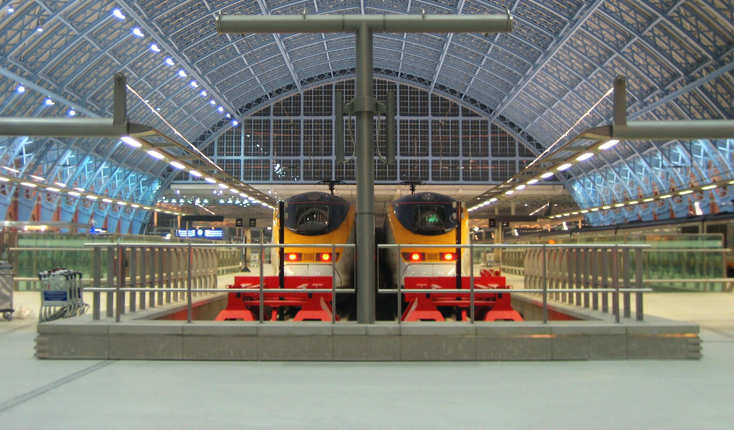 2 Eurostar trains at London St Pancras