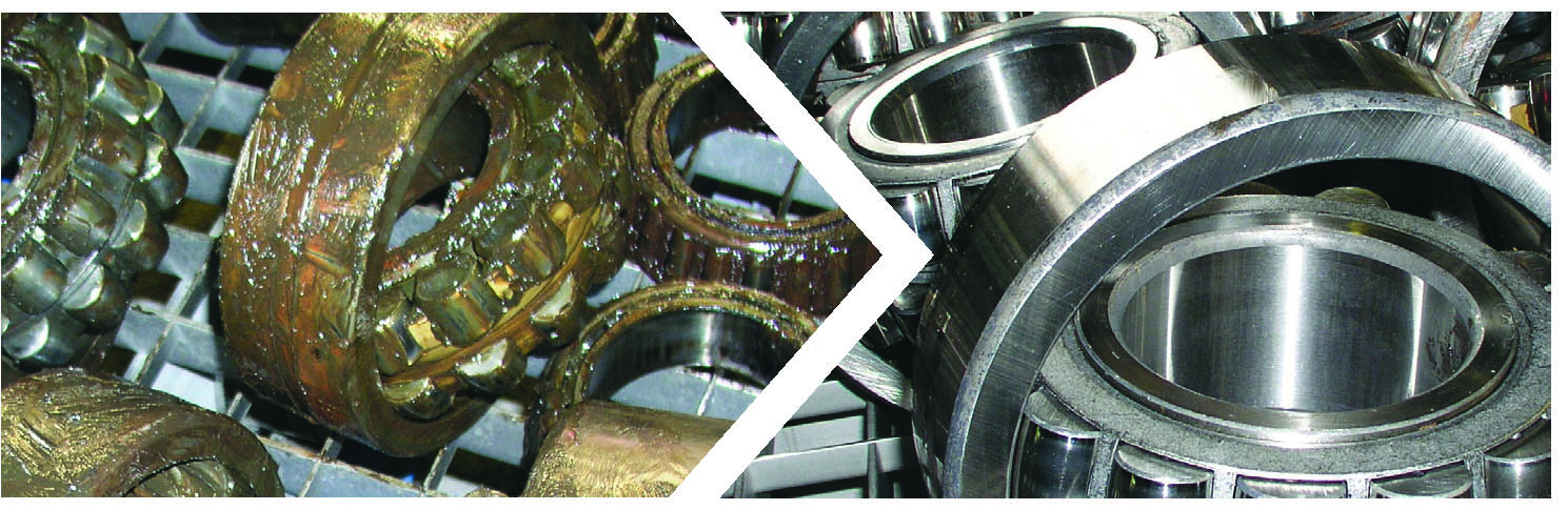 Bearings before and after cleaning with BvL cleaning system