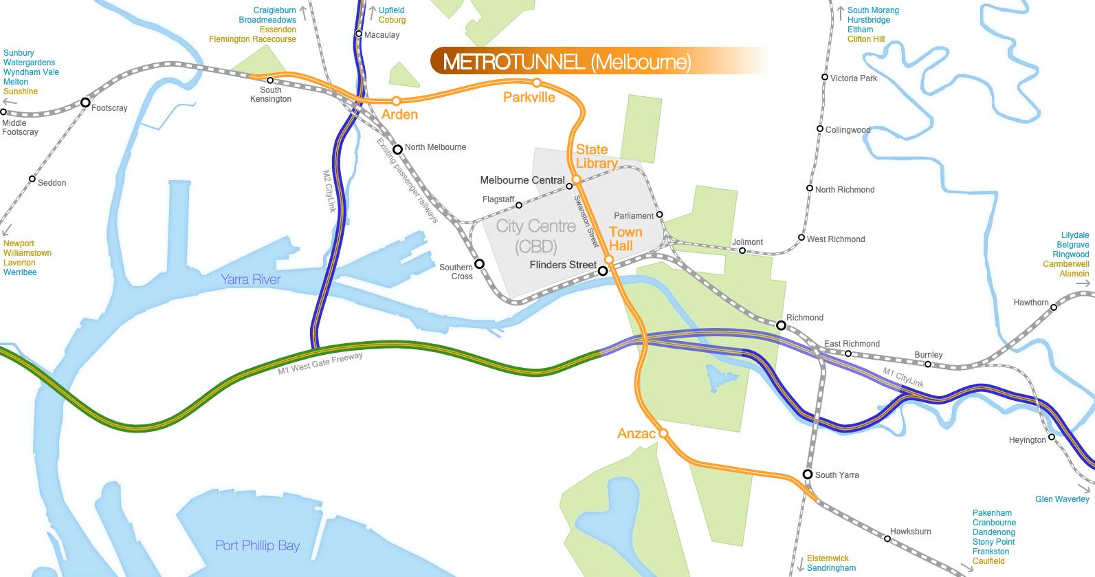 Melbourne Metro Tunnel map