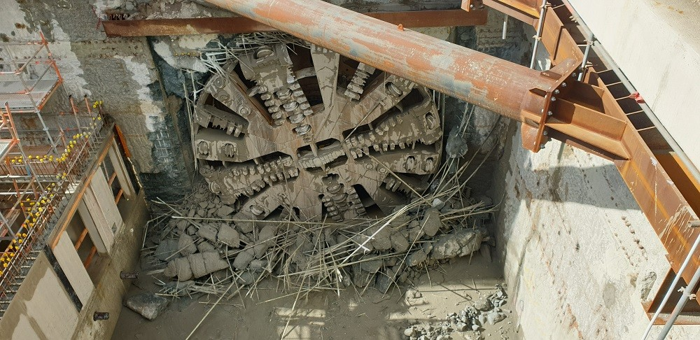 TBM Sandy breakthrough into Redcliffe Station in July 2019