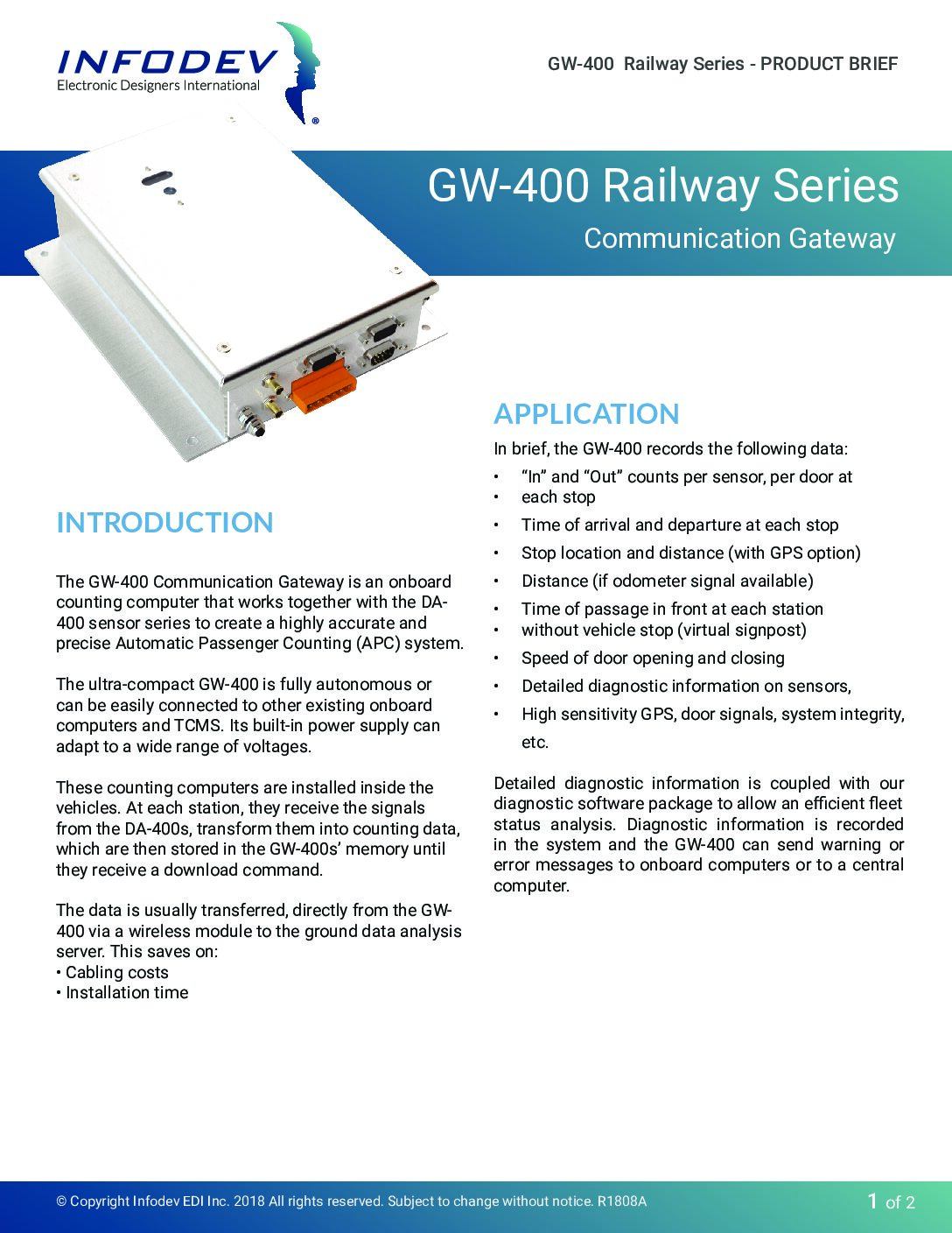 GW-400 Product Brief for Rail