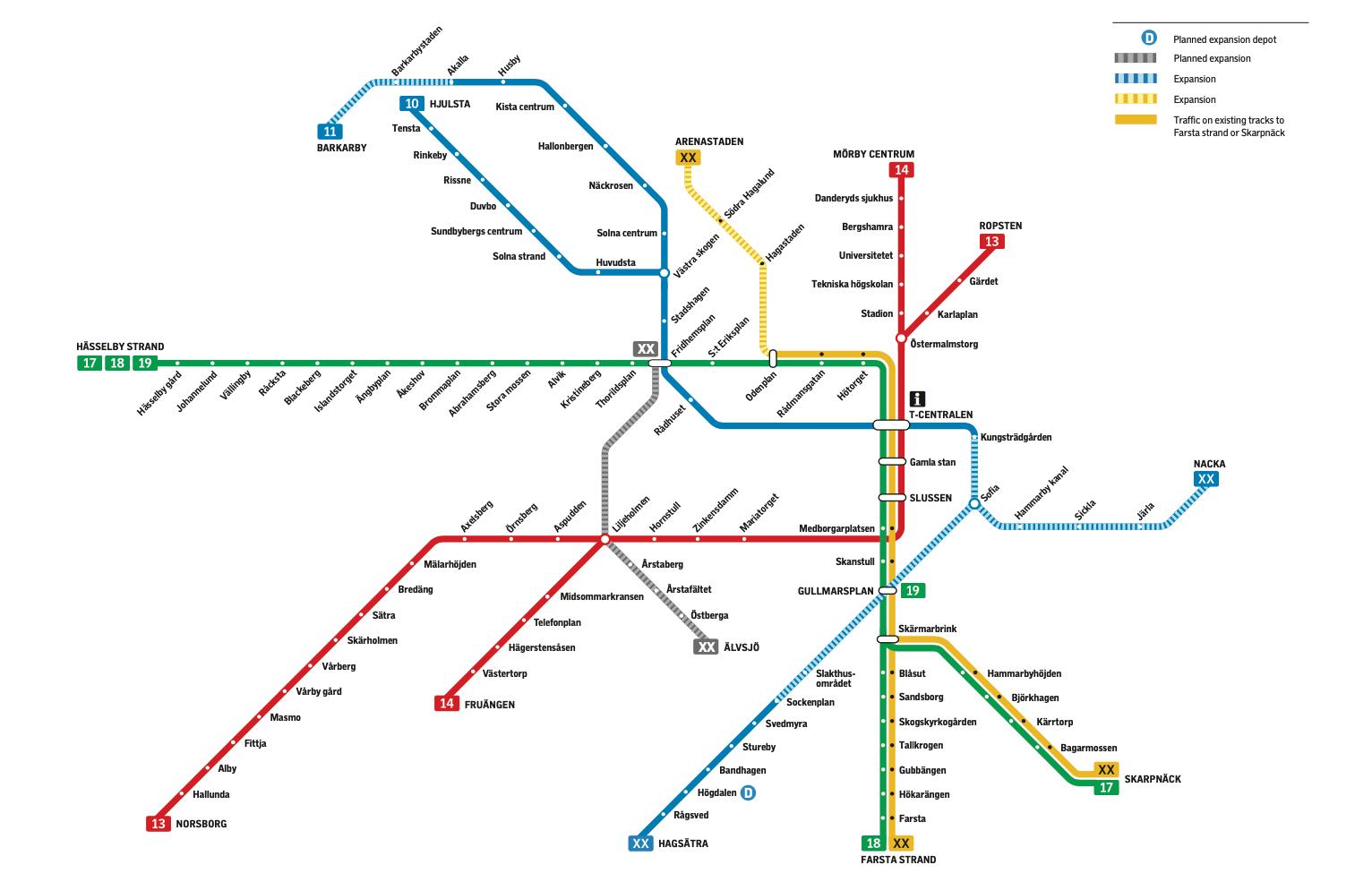 Stockholm Metro plan after expansion