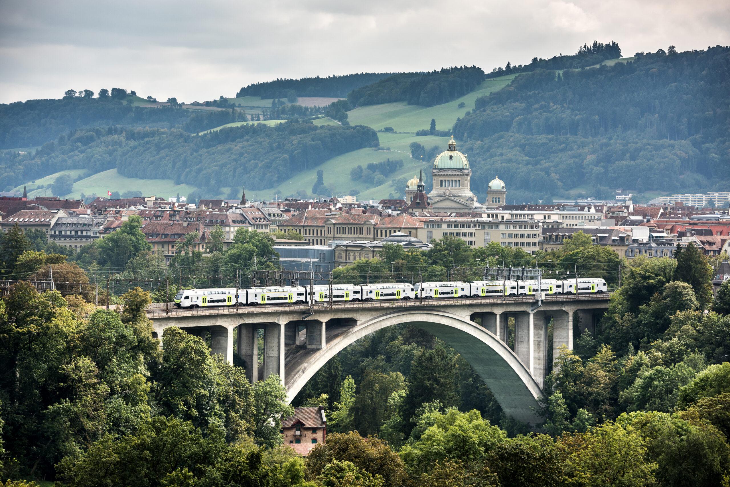 BLS MUTZ train on Lorraine Viaduct, Switerland