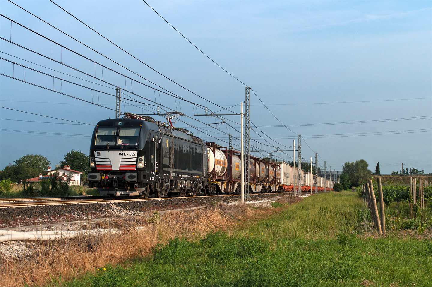 Electric freight train in Italy