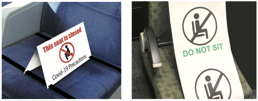 Train Seat signs and banners