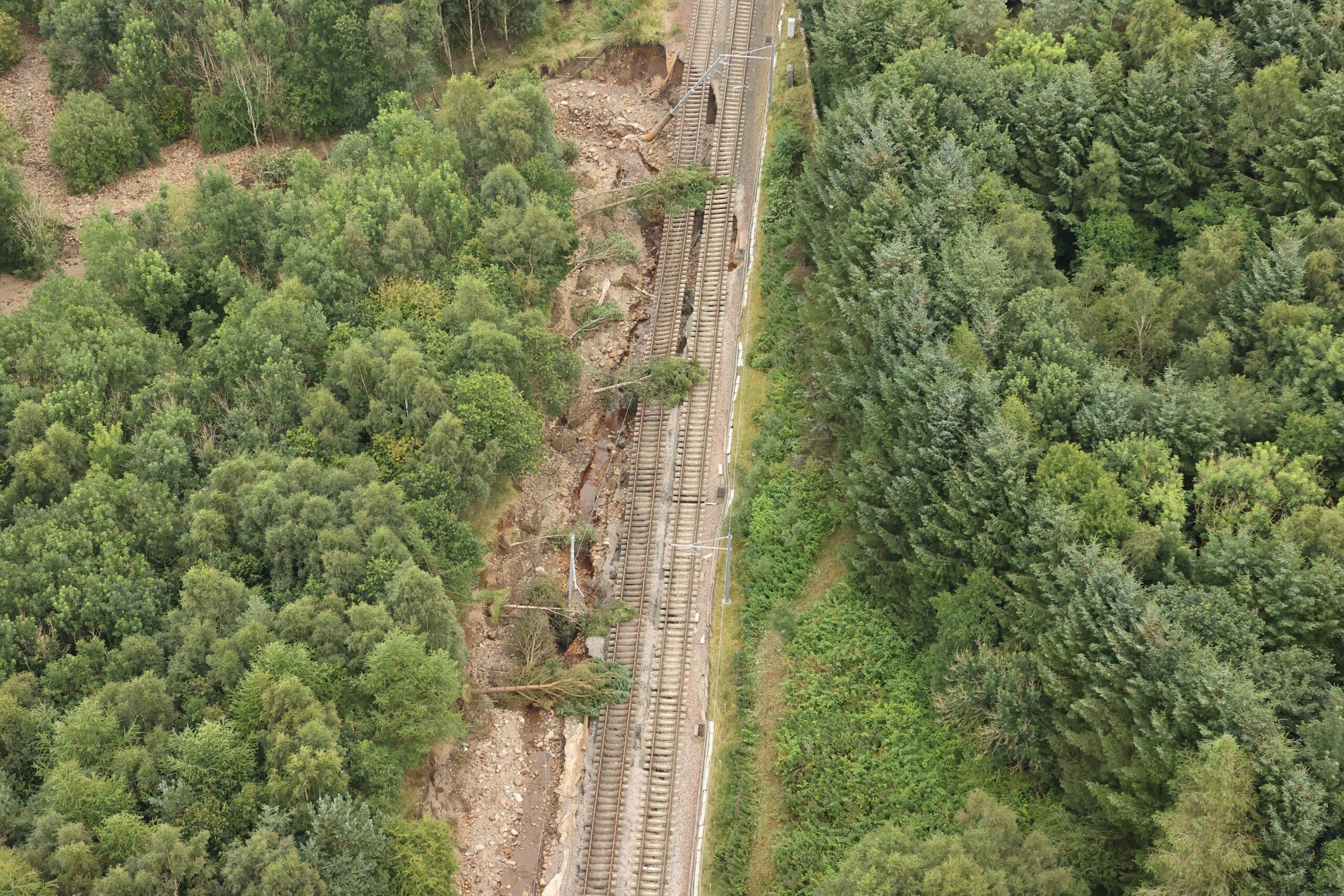 Aerial view of Glasgow Edinburgh railway line flooding