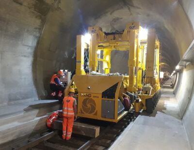 Ceneri Base Tunnel: The First Tracks