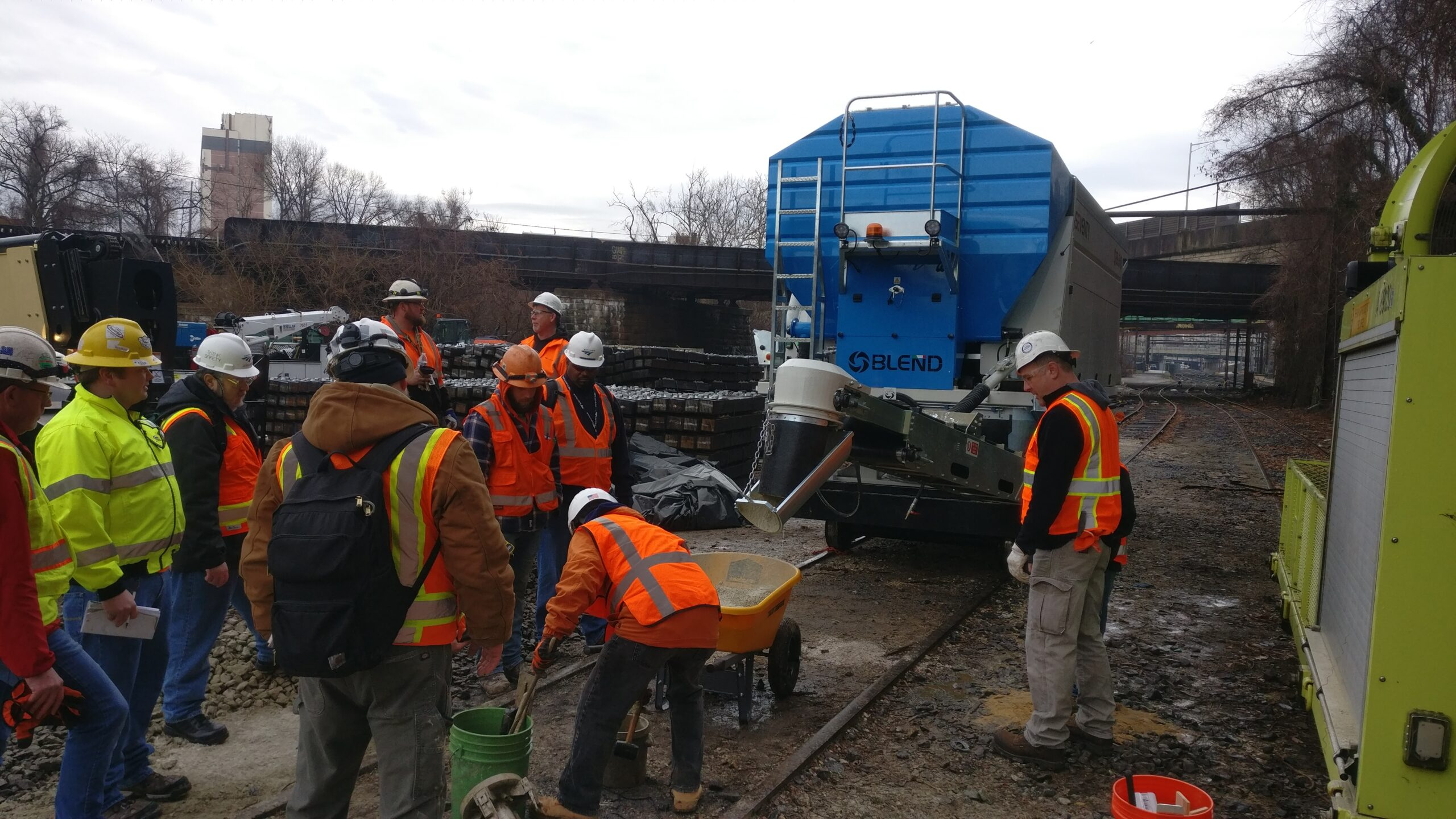 On-site concrete production for track maintenance