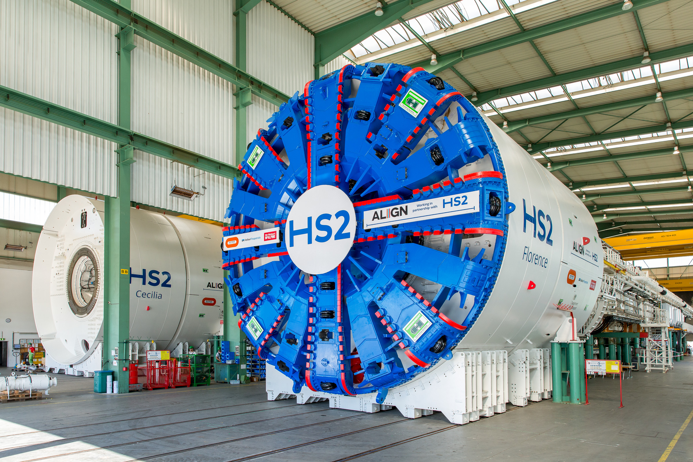 TBM Florence at the Herrenknecht factory, ready for shipping to HS2