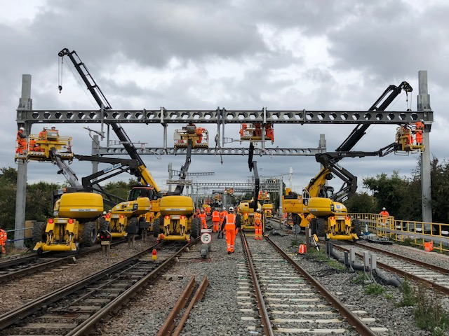 The railway line to Cardiff has recently been electrified