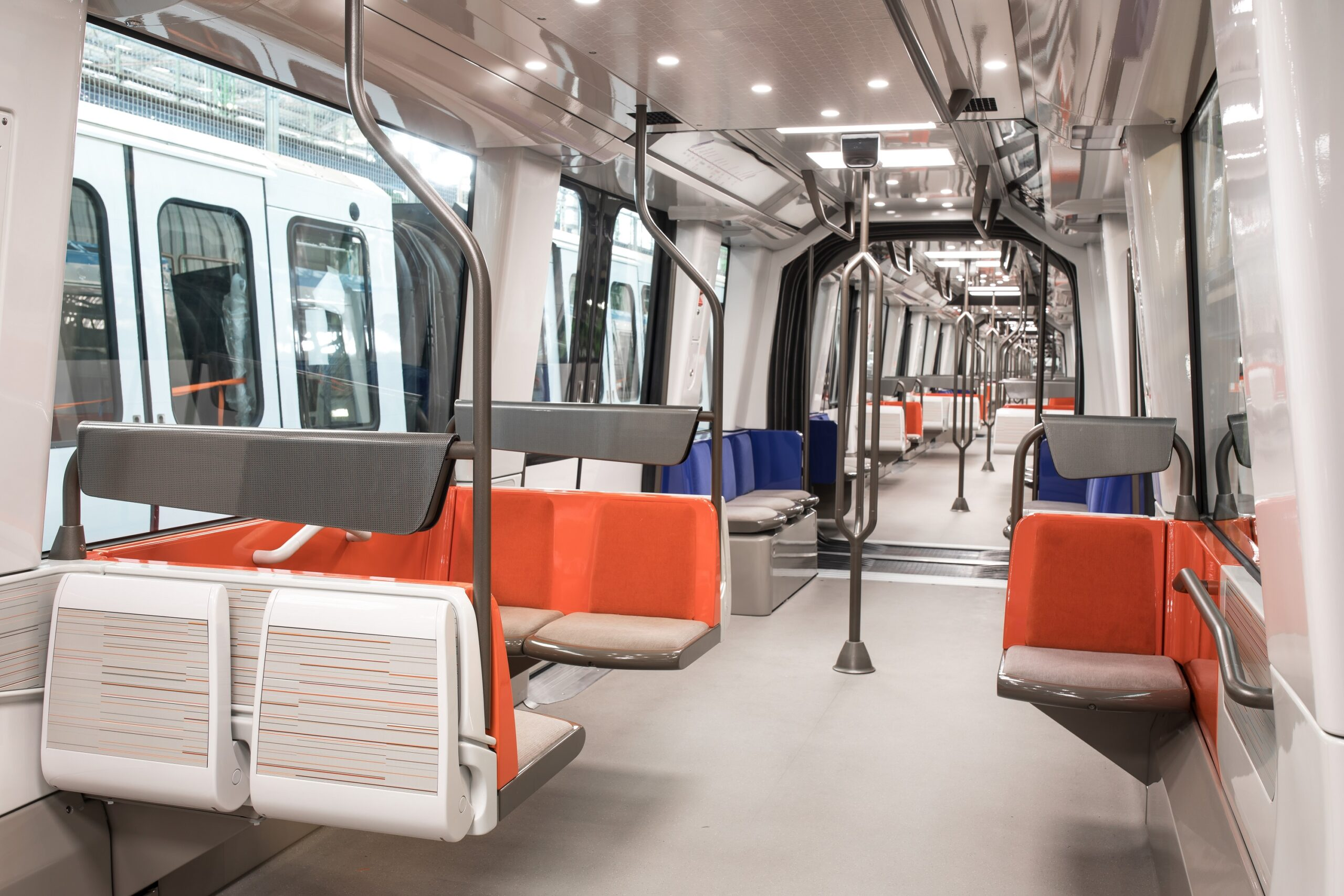 Interior of the MP14 metro for Line 14, Paris