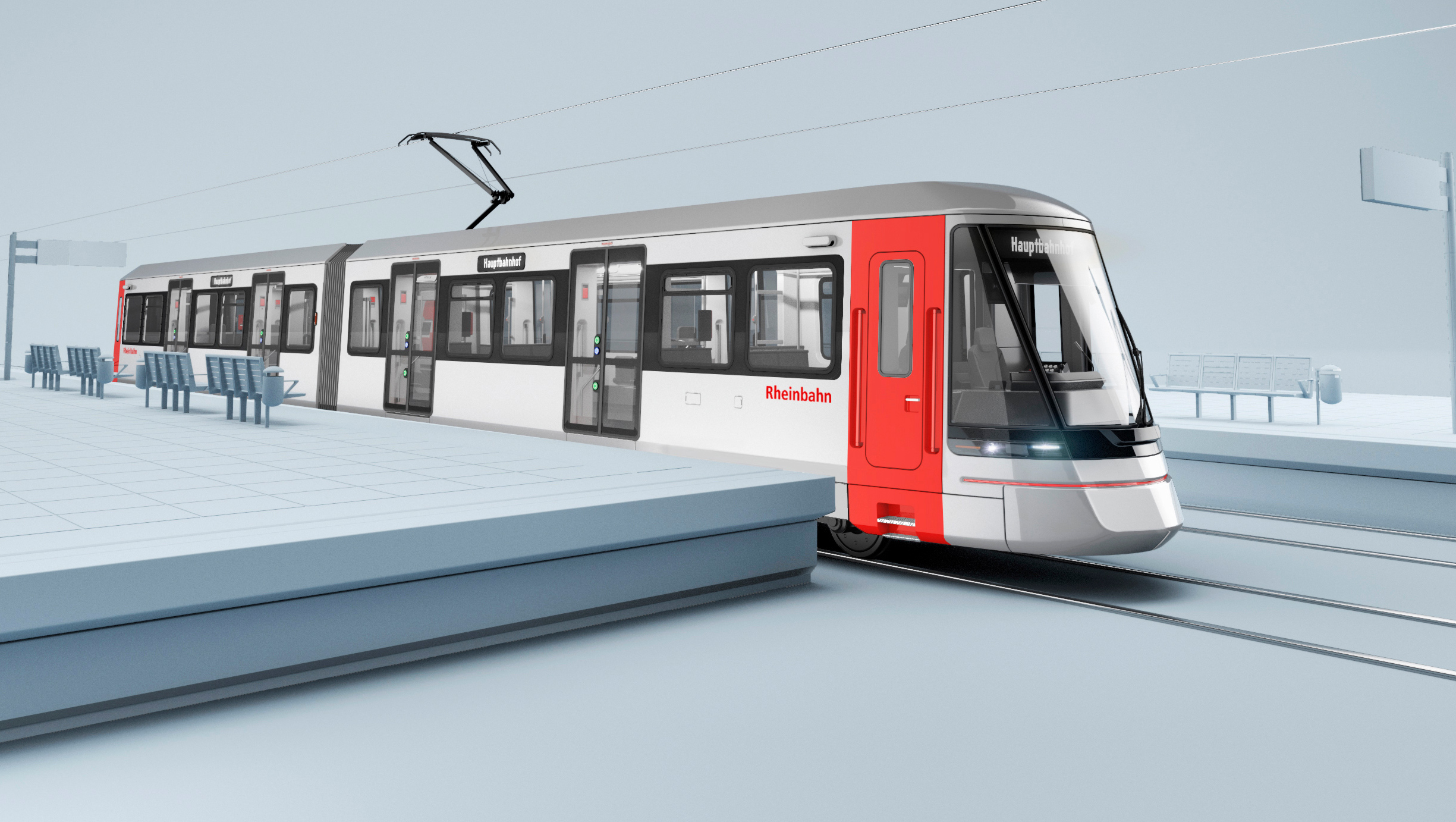 Rendering of the light rail vehicle for Duisburg and Dusseldorf