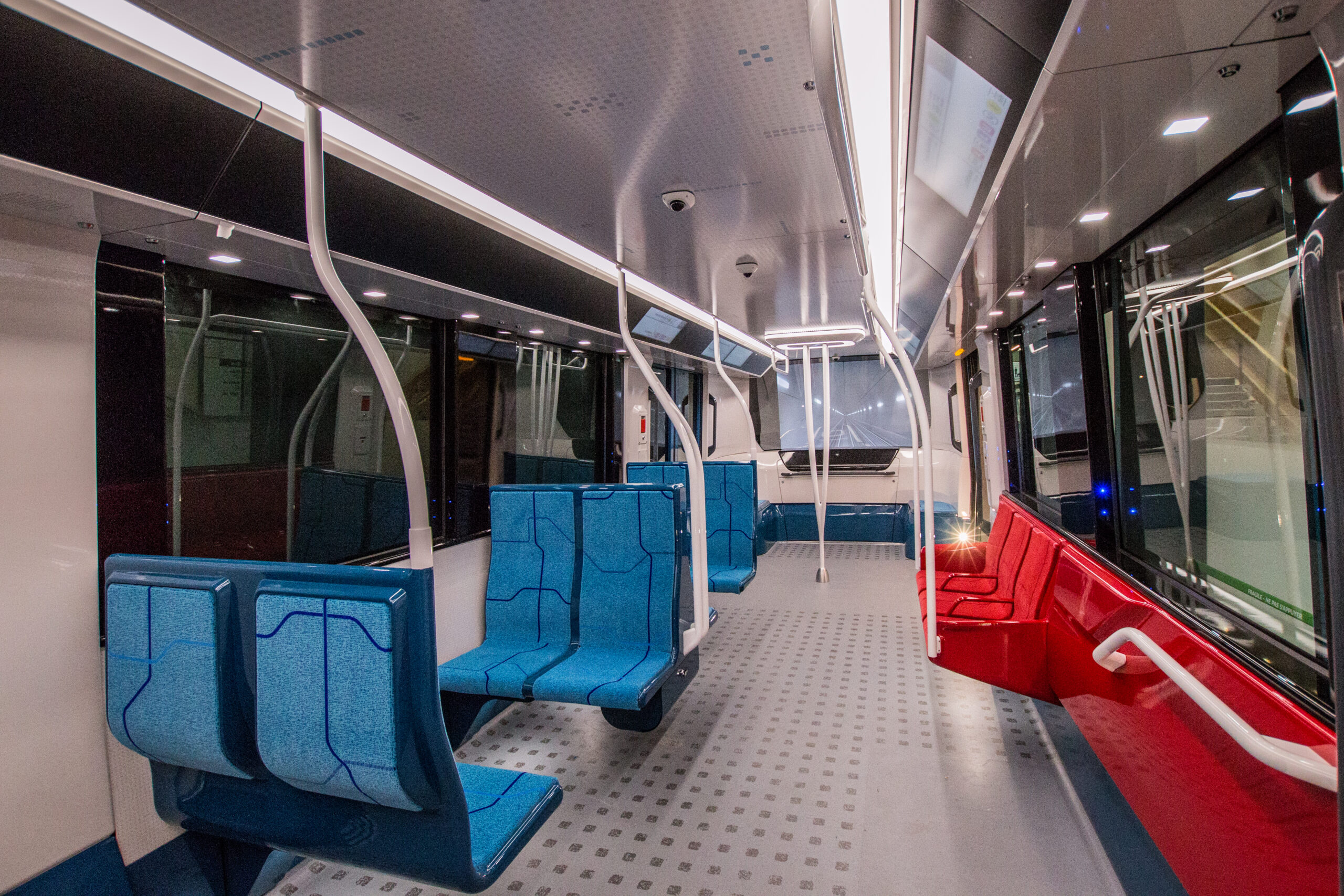 The interior of the new metro for the Grand Paris Express lines 15, 16 and 17