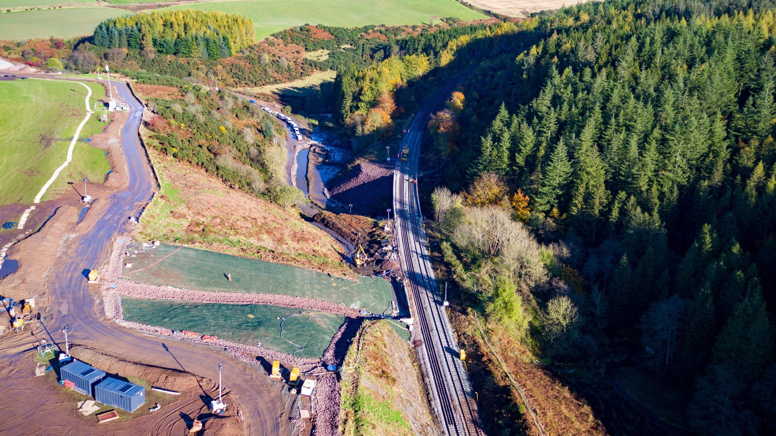 Stonehaven derailment site on 30 October 2020