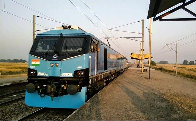 An Alstom WAG 12B electric locomotive for India