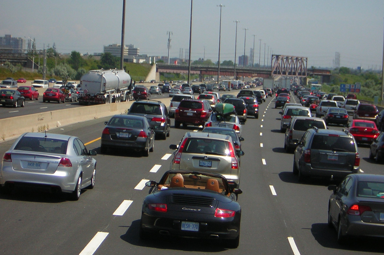 A cautionary tale: Highway 401 in Toronto is gridlocked despite being up to 18 lanes wide in places